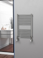 Eastgate Straight Polished 304 Stainless Steel Heated Towel Rail 800mm High x 500mm Wide