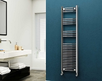 Eastgate Chrome Curved Heated Towel Rail 1600mm High x 400mm Wide Electric Only