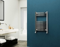 Eastgate Chrome Curved Heated Towel Rail 800mm High x 500mm Wide Electric Only