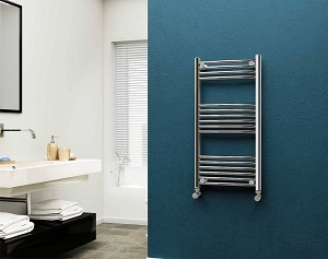 Eastgate 22mm Steel Chrome Curved Heated Towel Rail 1000mm High x 500mm Wide Electric Only
