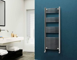 Eastgate 22mm Steel Chrome Curved Heated Towel Rail 1400mm High x 500mm Wide Electric Only