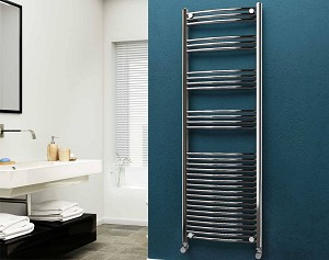 Eastgate 22mm Steel Chrome Curved Heated Towel Rail 1800mm High x 600mm Wide Electric Only