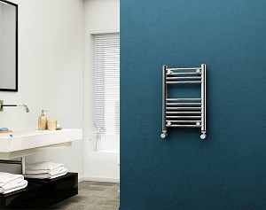 Eastgate 22mm Steel Chrome Curved Heated Towel Rail 600mm High x 400mm Wide