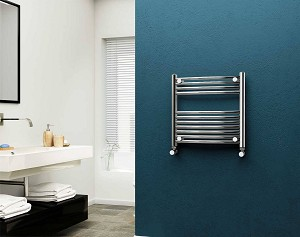 Eastgate 22mm Steel Chrome Curved Heated Towel Rail 600mm High x 600mm Wide