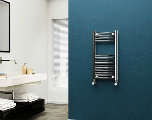 Eastgate 22mm Steel Chrome Curved Heated Towel Rail 800mm High x 400mm Wide