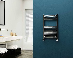 Eastgate 22mm Steel Chrome Curved Heated Towel Rail 800mm High x 500mm Wide
