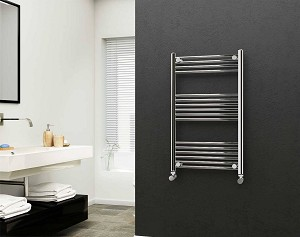 Eastgate 22mm Steel Chrome Straight Heated Towel Rail 1000mm High x 600mm Wide