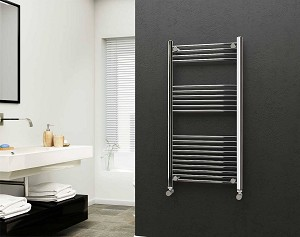 Eastgate 22mm Steel Chrome Straight Heated Towel Rail 1200mm High x 600mm Wide Electric Only