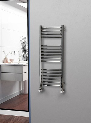 Eastgate Curved Polished 304 Stainless Steel Heated Towel Rail 1000mm High x 400mm Wide Electric Only