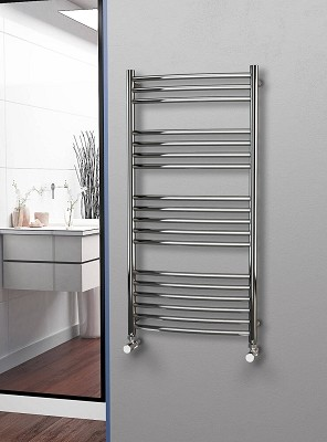 Eastgate Curved Polished 304 Stainless Steel Heated Towel Rail 1200mm High x 600mm Wide Electric Only