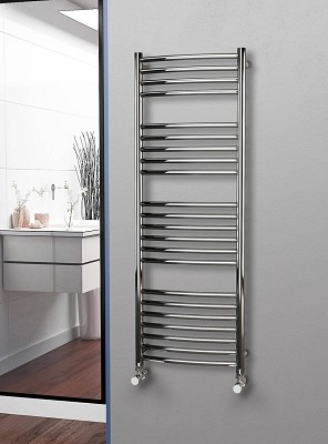 Eastgate Curved Polished 304 Stainless Steel Heated Towel Rail 1400mm High x 500mm Wide Electric Only