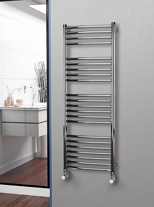 Eastgate Curved Polished 304 Stainless Steel Heated Towel Rail 1400mm High x 500mm Wide