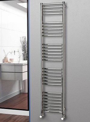 Eastgate Curved Polished 304 Stainless Steel Heated Towel Rail 1800mm High x 400mm Wide