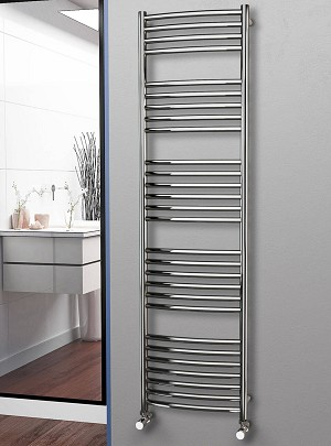 Eastgate Curved Polished 304 Stainless Steel Heated Towel Rail 1800mm High x 500mm Wide