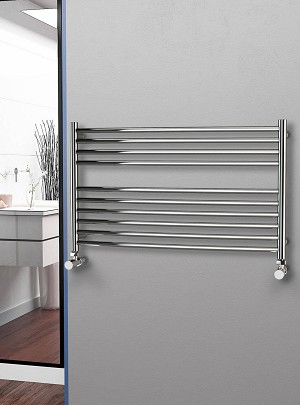 Eastgate Curved Polished 304 Stainless Steel Heated Towel Rail 600mm High x 1000mm Wide
