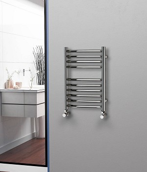 Eastgate Curved Polished 304 Stainless Steel Heated Towel Rail 600mm High x 400mm Wide Electric Only