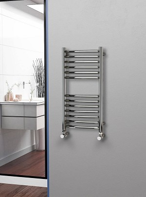 Eastgate Curved Polished 304 Stainless Steel Heated Towel Rail 800mm High x 400mm Wide