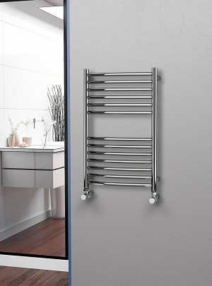 Eastgate Curved Polished 304 Stainless Steel Heated Towel Rail 800mm High x 500mm Wide