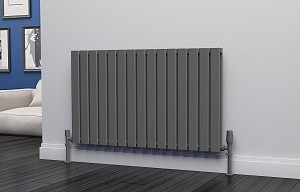 Eastgate Eben Anthracite Horizontal Double Panel Flat Tube Designer Radiator 600mm High x 1020mm Wide