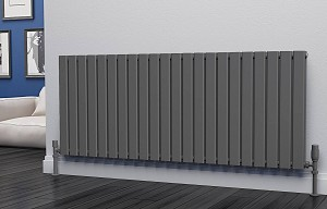 Eastgate Eben Anthracite Horizontal Double Panel Flat Tube Designer Radiator 600mm High x 1496mm Wide