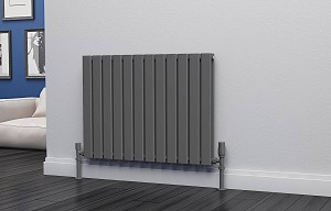 Eastgate Eben Anthracite Horizontal Double Panel Flat Tube Designer Radiator 600mm High x 816mm Wide