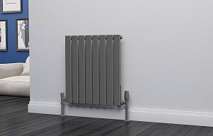 Eastgate Eben Anthracite Horizontal Single Panel Flat Tube Designer Radiator 600mm High x 544mm Wide Electric Only