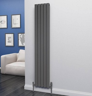 Eastgate Eben Anthracite Vertical Double Panel Flat Tube Designer Radiator 1800mm High x 340mm Wide
