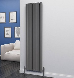Eastgate Eben Anthracite Vertical Double Panel Flat Tube Designer Radiator 1800mm High x 476mm Wide