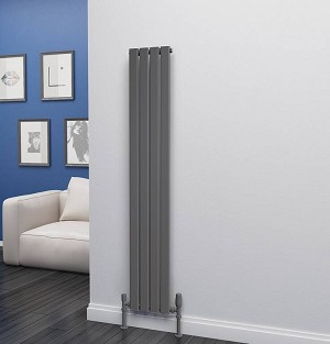 Eastgate Eben Anthracite Vertical Single Panel Flat Tube Designer Radiator 1600mm High x 272mm Wide
