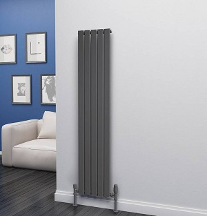 Eastgate Eben Anthracite Vertical Single Panel Flat Tube Designer Radiator 1600mm High x 340mm Wide