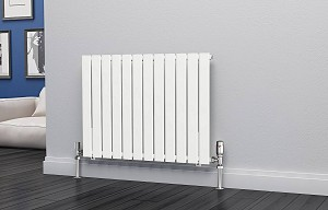 Eastgate Eben White Horizontal Single Panel Flat Tube Designer Radiator 600mm High x 816mm Wide Electric Only