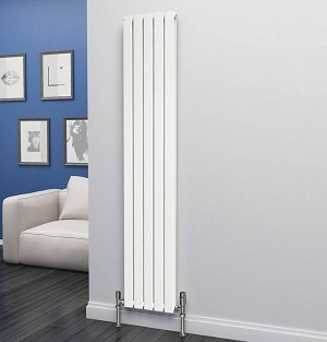 Eastgate Eben White Vertical Double Panel Flat Tube Designer Radiator 1800mm High x 340mm Wide