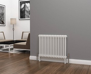 Eastgate Lazarus 2 Column White Horizontal Radiator 600mm High x 768mm Wide