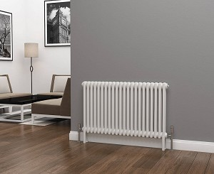 Eastgate Lazarus 2 Column White Horizontal Radiator 600mm High x 988mm Wide