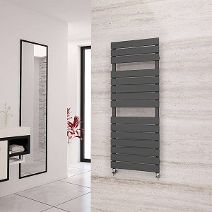 Eastgate Liso Anthracite Flat Tube Designer Heated Towel Rail 1292mm High x 500mm Wide