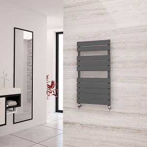 Eastgate Liso Anthracite Flat Tube Designer Heated Towel Rail 912mm High x 500mm Wide