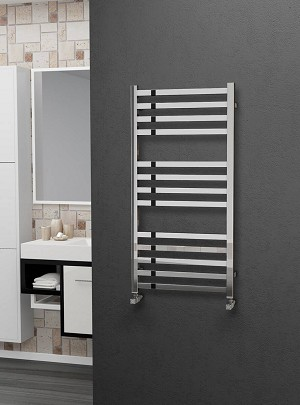 Eastgate Square Tube Stainless Steel Heated Towel Rail 1000mm High x 500mm Wide