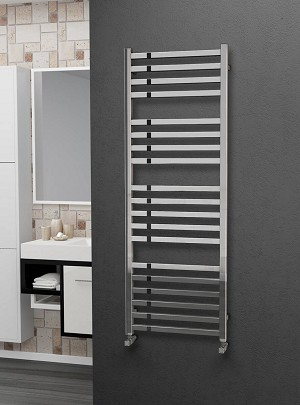 Eastgate Square Tube Stainless Steel Heated Towel Rail 1400mm High x 500mm Wide