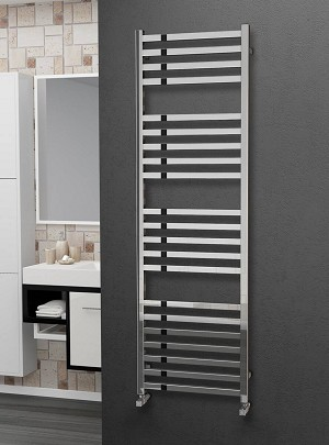 Eastgate Square Tube Stainless Steel Heated Towel Rail 1600mm High x 500mm Wide