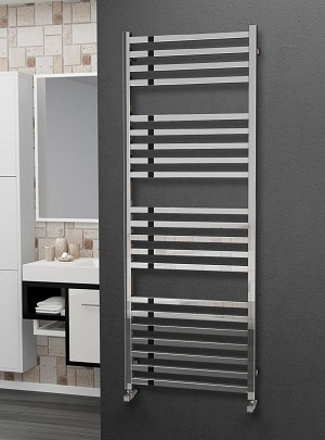 Eastgate Square Tube Stainless Steel Heated Towel Rail 1600mm High x 600mm Wide