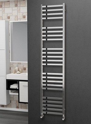 Eastgate Square Tube Stainless Steel Heated Towel Rail 1800mm High x 400mm Wide Electric Only