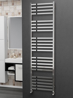 Eastgate Square Tube Stainless Steel Heated Towel Rail 1800mm High x 500mm Wide