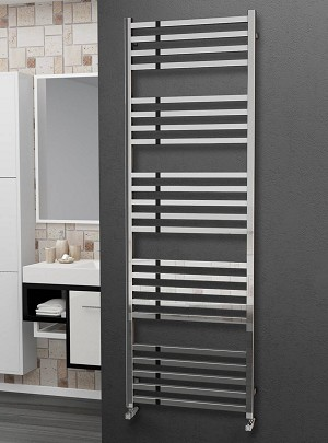 Eastgate Square Tube Stainless Steel Heated Towel Rail 1800mm High x 600mm Wide