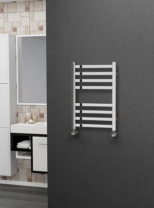 Eastgate Square Tube Stainless Steel Heated Towel Rail 600mm High x 400mm Wide Electric Only