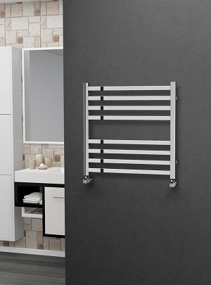 Eastgate Square Tube Stainless Steel Heated Towel Rail 600mm High x 600mm Wide