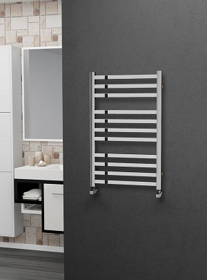 Eastgate Square Tube Stainless Steel Heated Towel Rail 800mm High x 500mm Wide