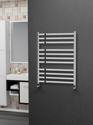 Eastgate Square Tube Stainless Steel Heated Towel Rail 800mm High x 600mm Wide