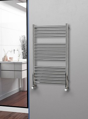 Eastgate Straight Polished 304 Stainless Steel Heated Towel Rail 1000mm High x 600mm Wide