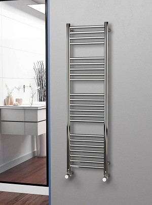 Eastgate Straight Polished 304 Stainless Steel Heated Towel Rail 1400mm High x 400mm Wide