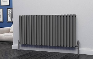 Eastgate Eclipse Anthracite Double Panel Horizontal Designer Radiator 600mm High x 1218mm Wide
